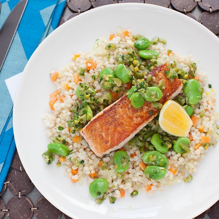 Recipe: Pan-Seared Salmon over Whole Wheat Israeli ...