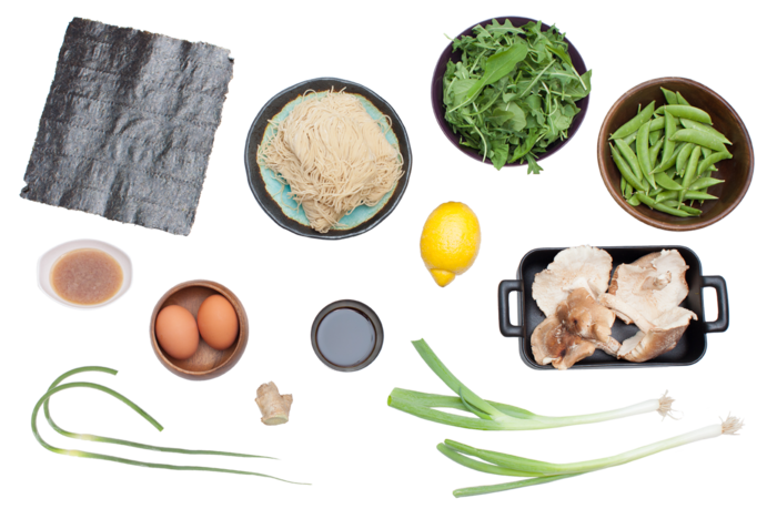 Spring Vegetable Ramen with Garlic Scapes, Shiitake Mushrooms & Boiled Egg