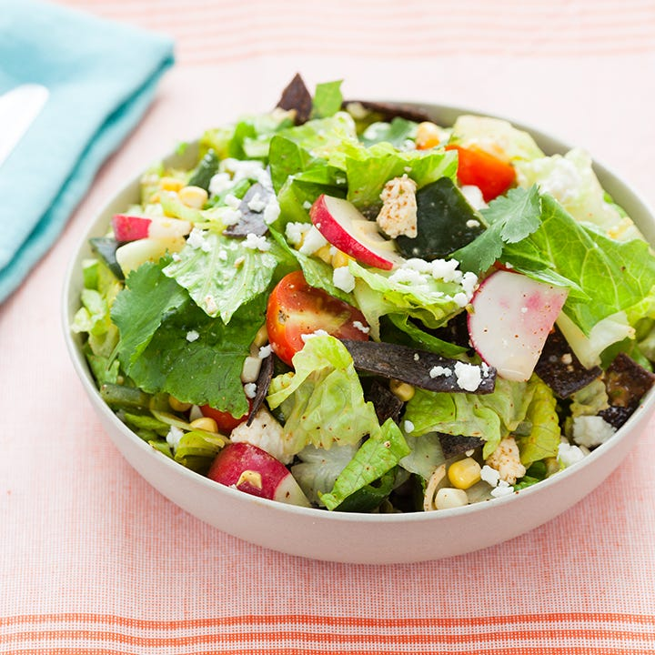 Mexican-Style Chopped Salad with Roasted Poblanos & Crispy Tortilla Strips