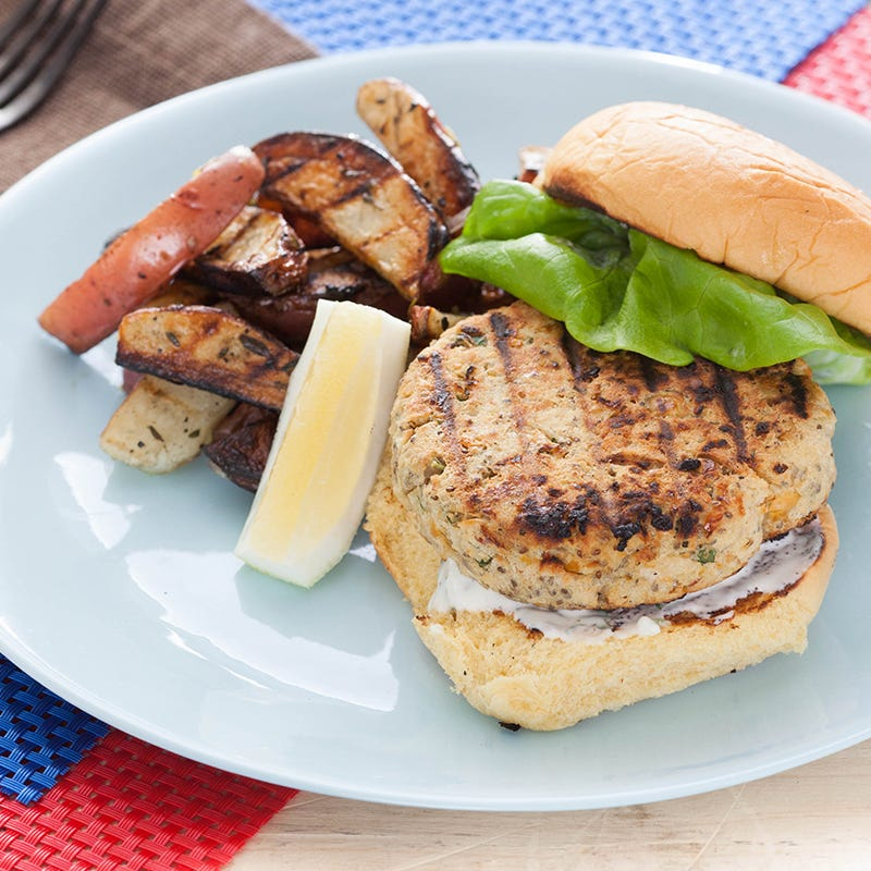 Chickpea Veggie Burgers with Garlic-Basil Aioli & Grilled Potato Wedges
