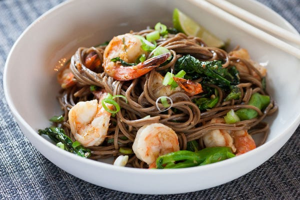 Lemongrass Shrimp with Soba Noodles & Chinese Broccoli