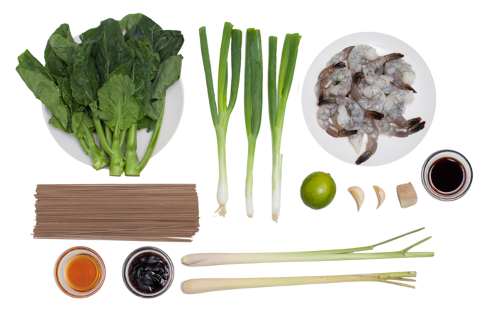 Lemongrass Shrimp with Soba Noodles & Chinese Broccoli ingredients