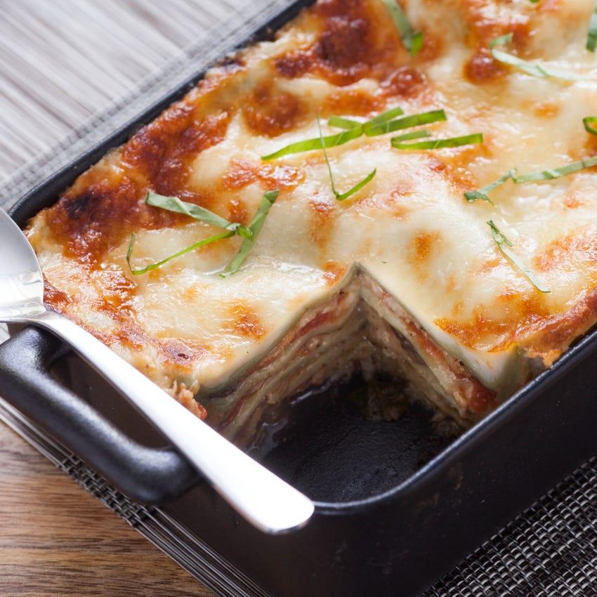 Eggplant Lasagna with Bechamel Sauce & Fresh Spinach Noodles
