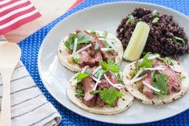 "Grilled Steak Tacos with Roasted Salsa Verde & Black Quinoa ""Pilaf"""