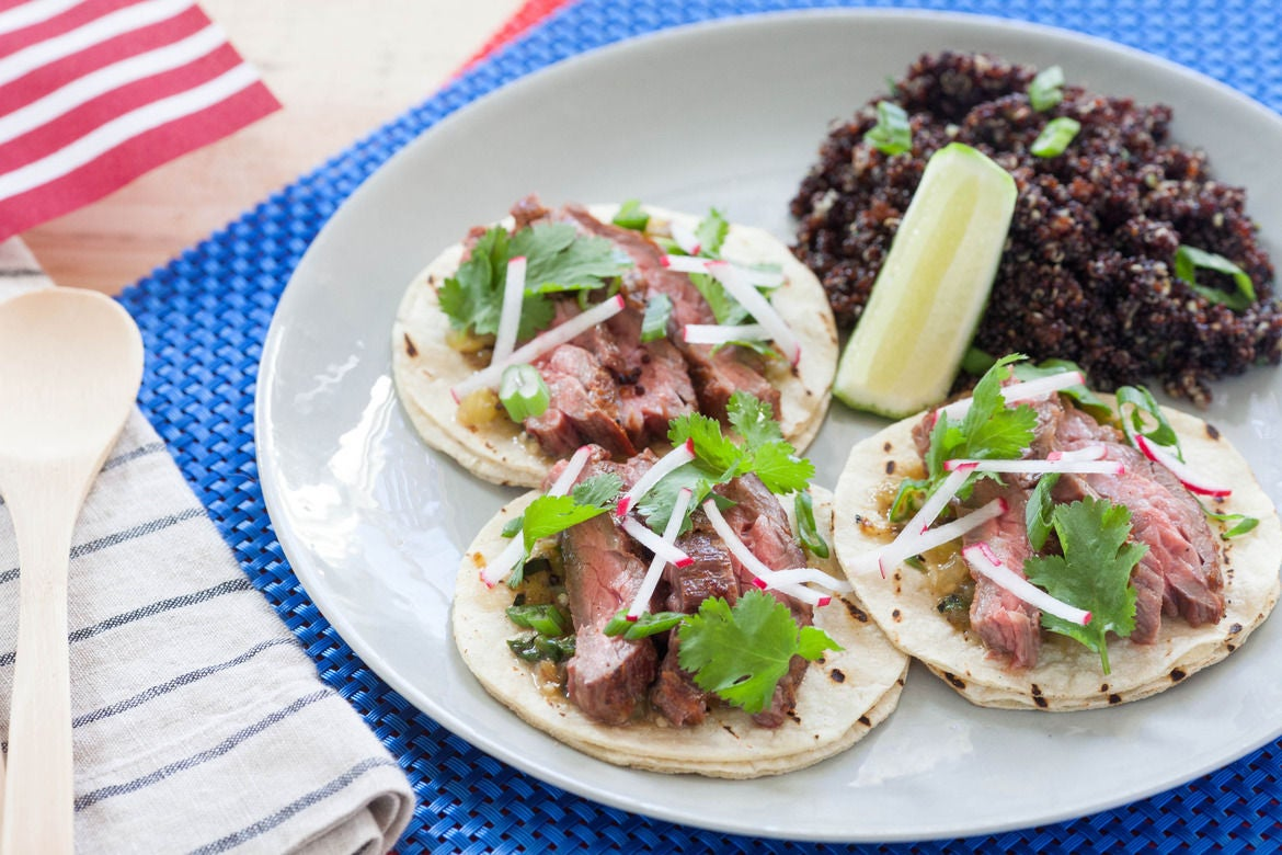 Recipe: Grilled Steak Tacos with Roasted Salsa Verde & Black Quinoa ...