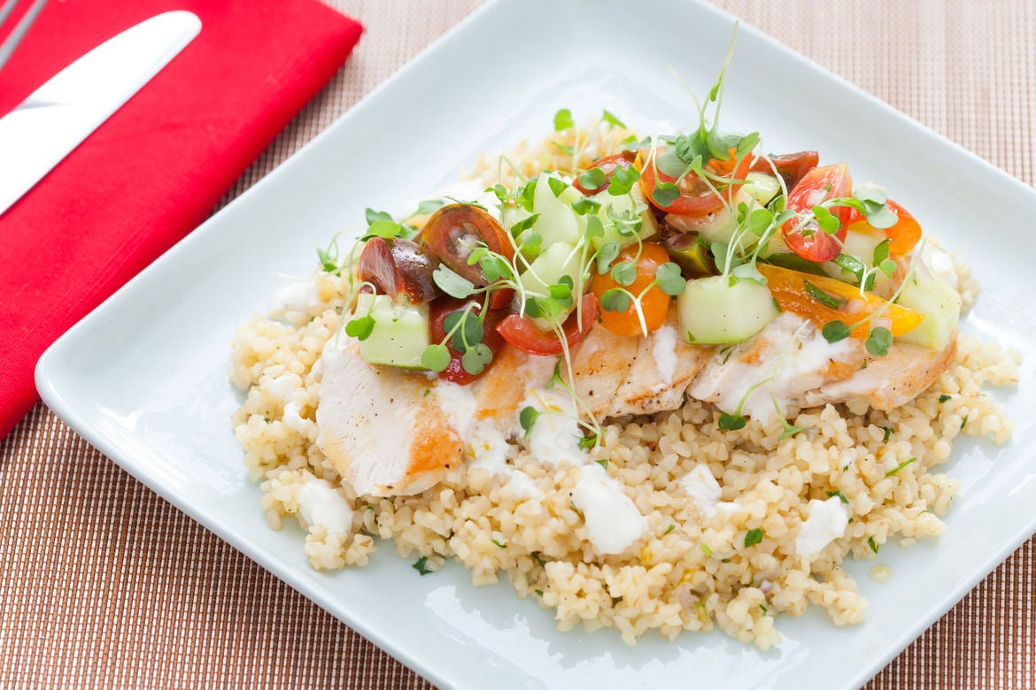 Pan-Seared Chicken & Sautéed Bulgur with Tomato Salad & Creamy Lemon-Yogurt Sauce