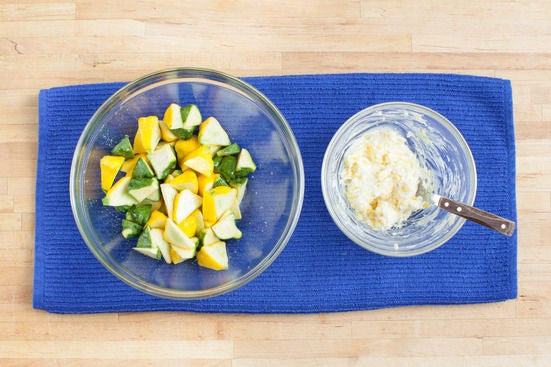 Make the garlic butter & dress the squash: