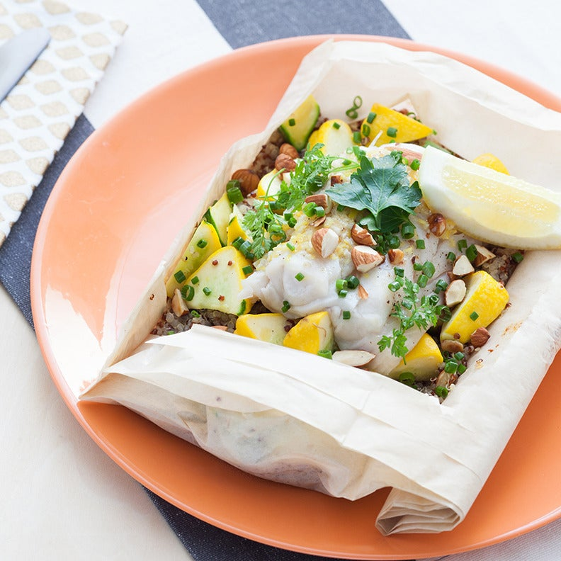 Cod & Pattypan Squash En Papillote with Garlic Butter & Fresh Herb Salad