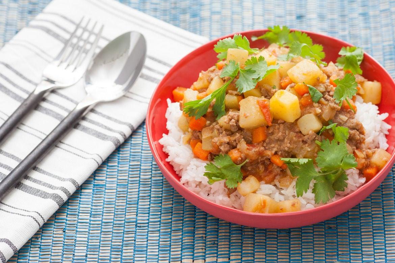 Filipino-Style Beef Picadillo with Chayote Squash & Jasmine Rice