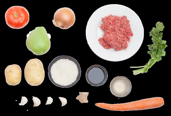 Filipino-Style Beef Picadillo with Chayote Squash & Jasmine Rice ingredients
