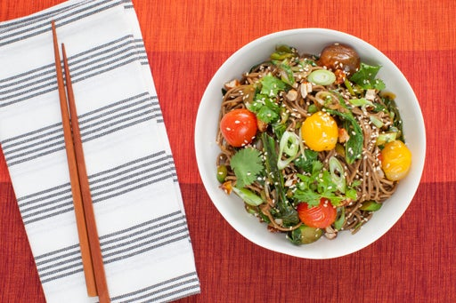 Hatcho Miso Soba Noodles with Roasted Cherry Tomatoes & Candied Cashews
