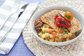 Dukkah-Dusted Tilapia  with Eggplant Sofrito & Blistered Peppers