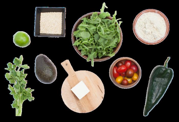 Roasted Poblano & Quinoa Sopes with Avocado, Arugula & Cherry Tomato Salad
