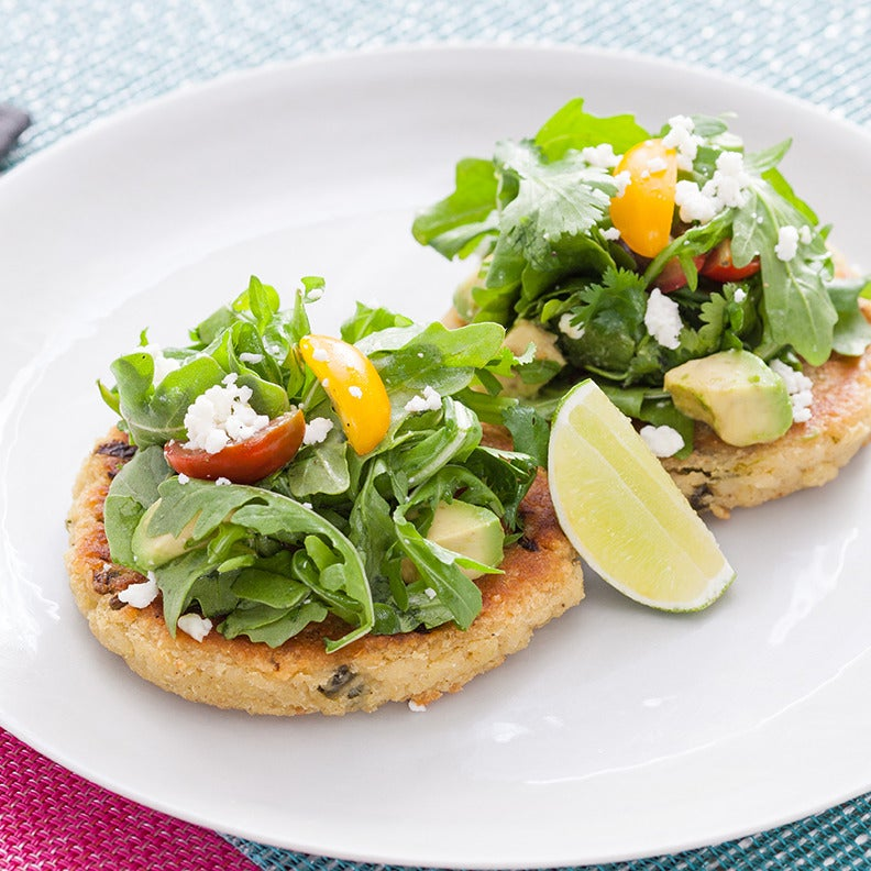 Roasted Poblano & Quinoa Sopes with Avocado, Arugula & Cherry Tomato Salad