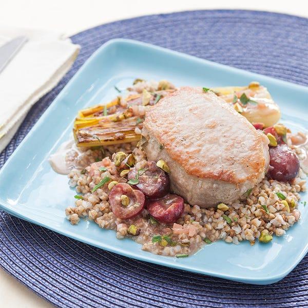Braised Pork Chops & Roasted Leeks with Cherry Gastrique over Kasha