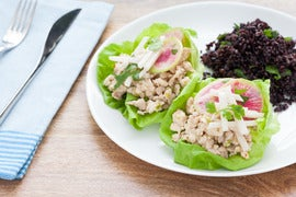 Asian Chicken Lettuce Wraps with Chinese Black Rice