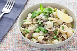 Lamb, Mint & Pea Orecchiette with Purple Spring Onions