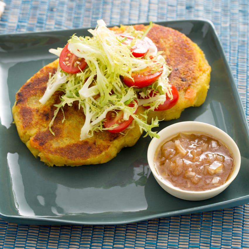 Potato Rosti with Frisée Salad & Tamarind Chutney