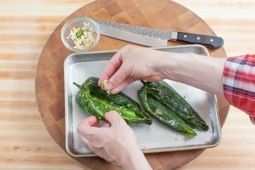 Roast & prepare the poblano peppers: