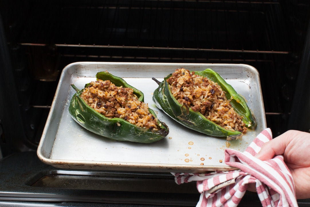 Stuff & bake the poblano peppers: