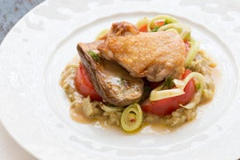 Pan-Seared Chicken Thighs with Roasted Baby Zebra Eggplants & Fennel ...