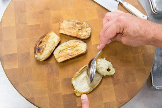 Roast the eggplants: