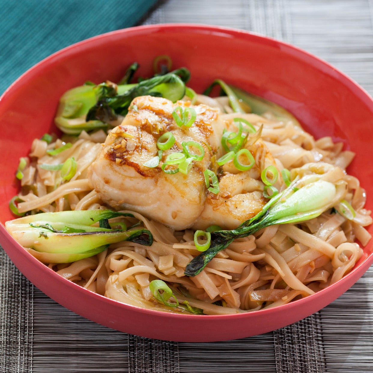 Pan-Seared Cod with Soy Maple Glaze, Baby Bok Choy, and Rice Noodles