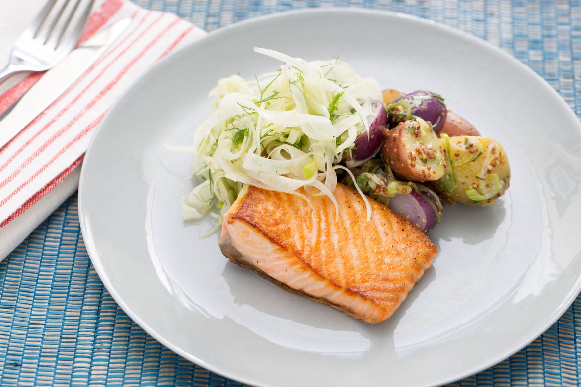 Pan-Roasted Salmon With Fennel Salad Recipe — Dishmaps