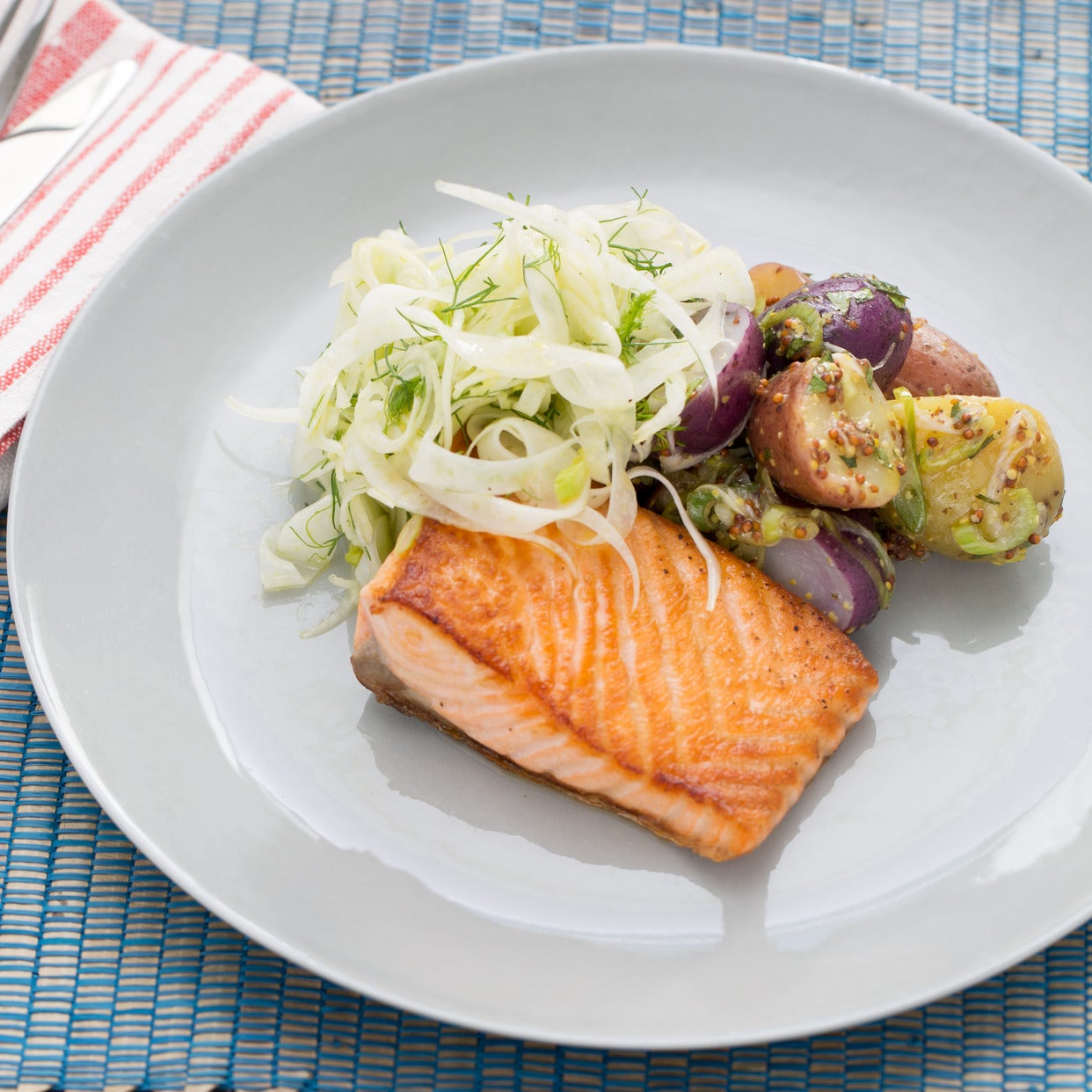 Recipe Pan Seared Salmon With Fennel Heirloom Potato Salad Blue