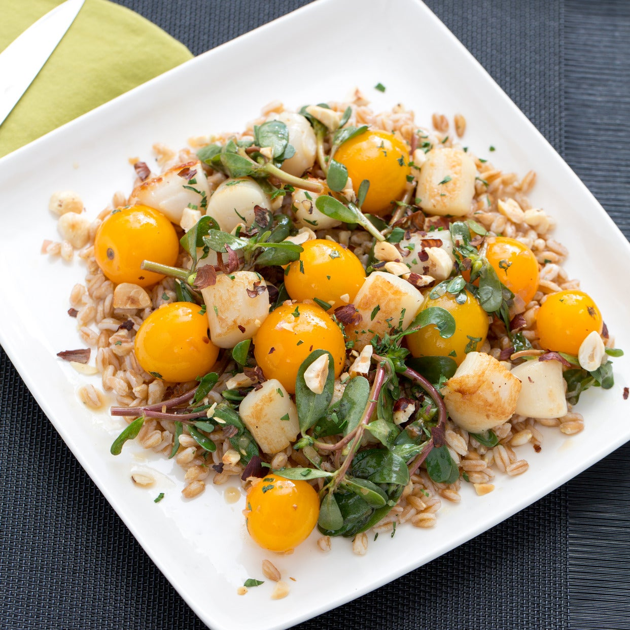 Pan-Seared Scallops with Sautéed Sun Gold Tomatoes & Purslane over Farro