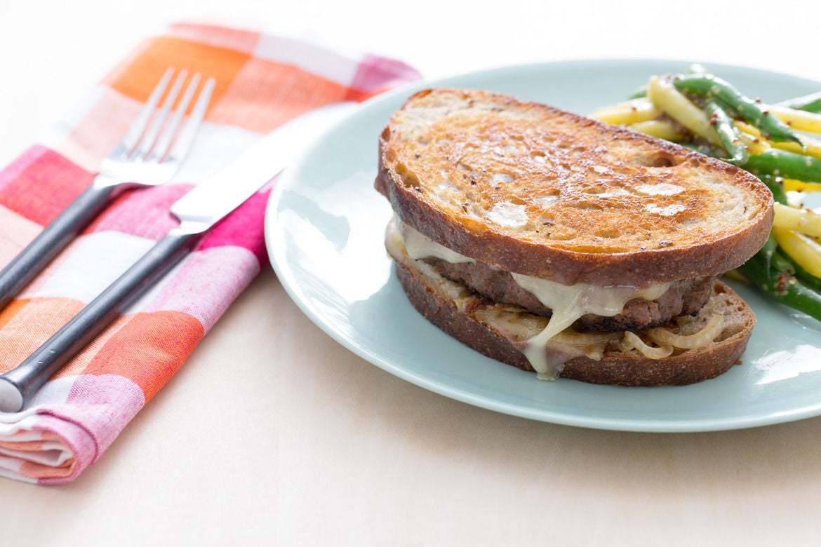 Recipe: Beef Patty Melts with Green & Yellow Wax Bean Salad - Blue ...