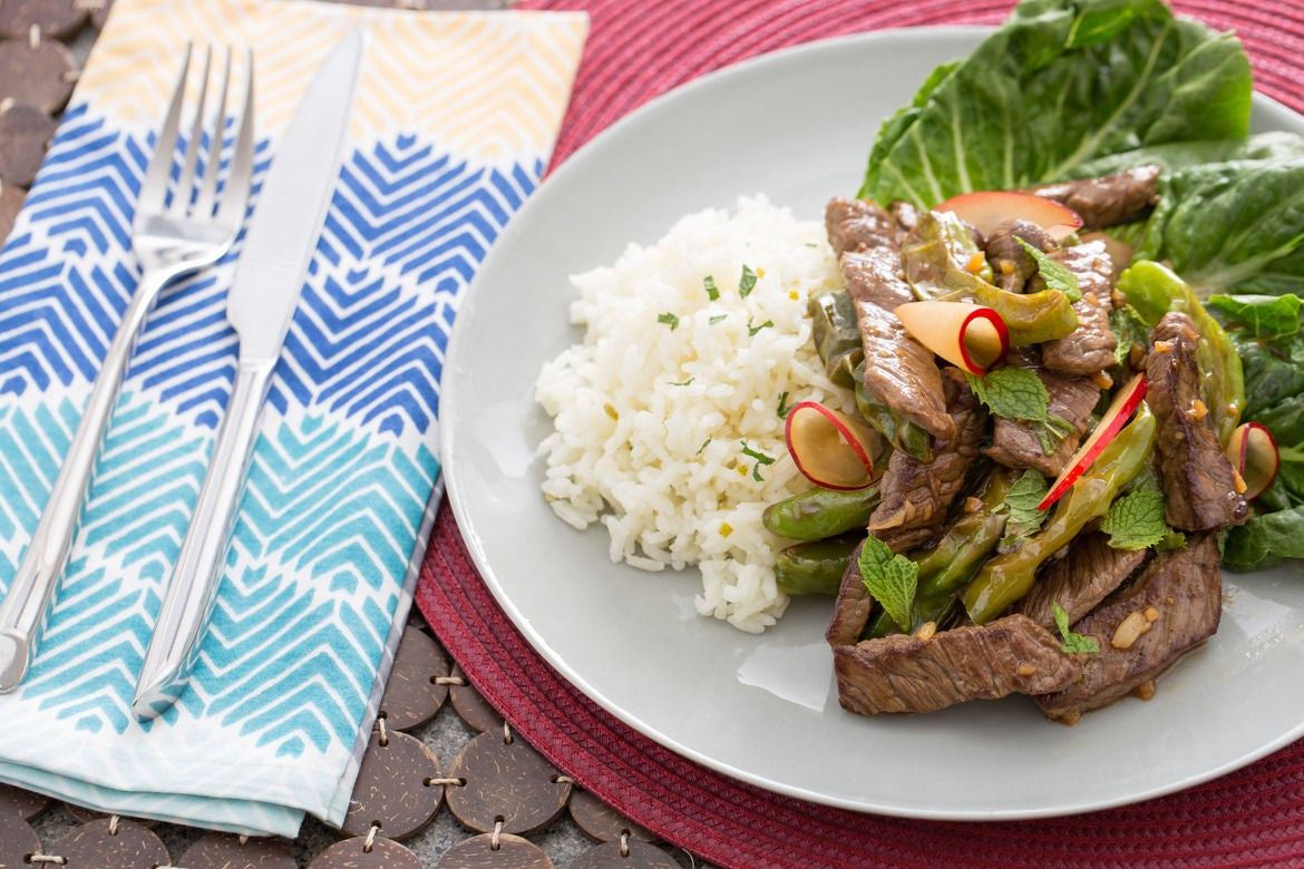 "Vietnamese-Style ""Shaking"" Beef with Lime-Jasmine Rice & Dressed Plum"