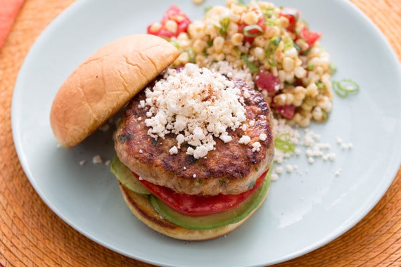Recipe: Mexican-Style Turkey Burger with Warm Corn-Tomato Salad - Blue ...