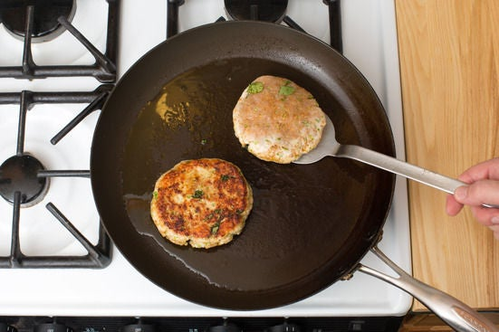 Make & cook the burgers: