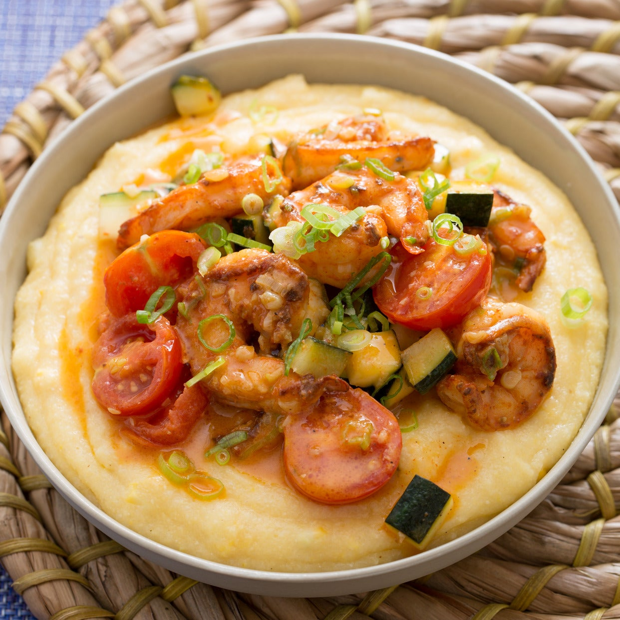 Southern-Style Shrimp & Grits with Corn, Zucchini & Cherry Tomatoes