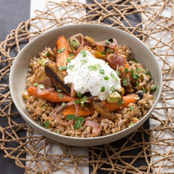 Heirloom Carrot & Toasted Farro Salad with Labneh Cheese & Pickled Dates