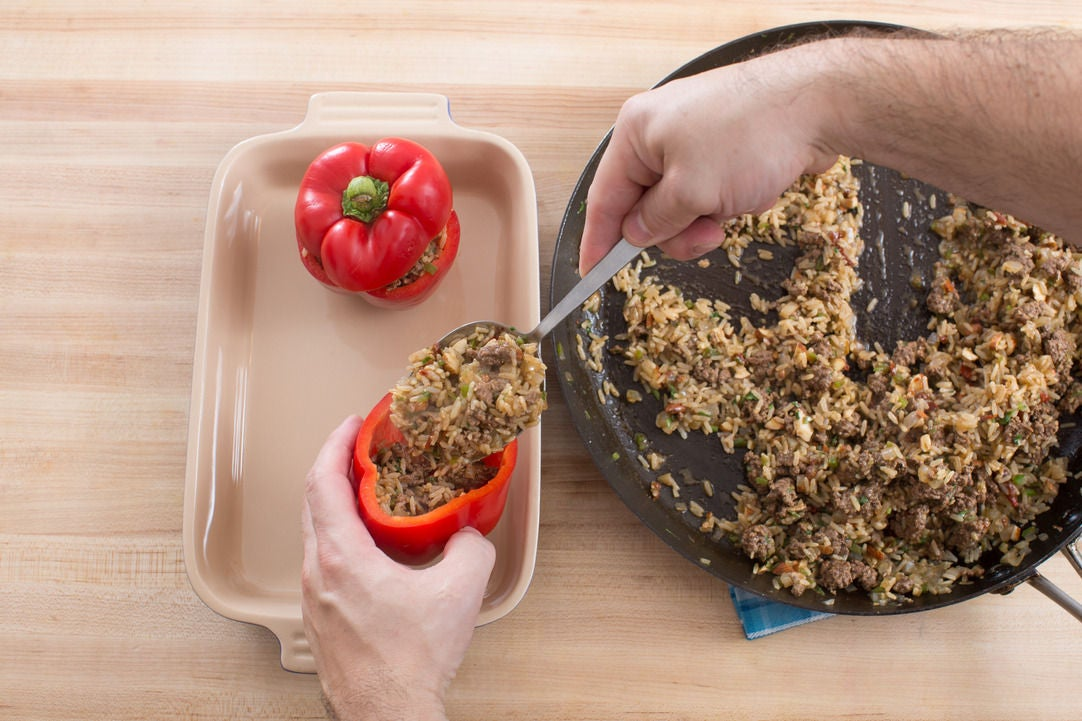 Stuff & bake the peppers: