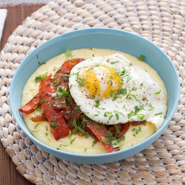 Peperonata & Fried Eggs with Creamy Parmesan Polenta