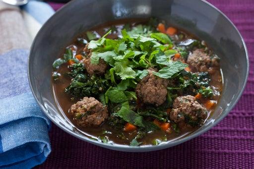 Mexican Albondigas Soup with Kale & Quinoa