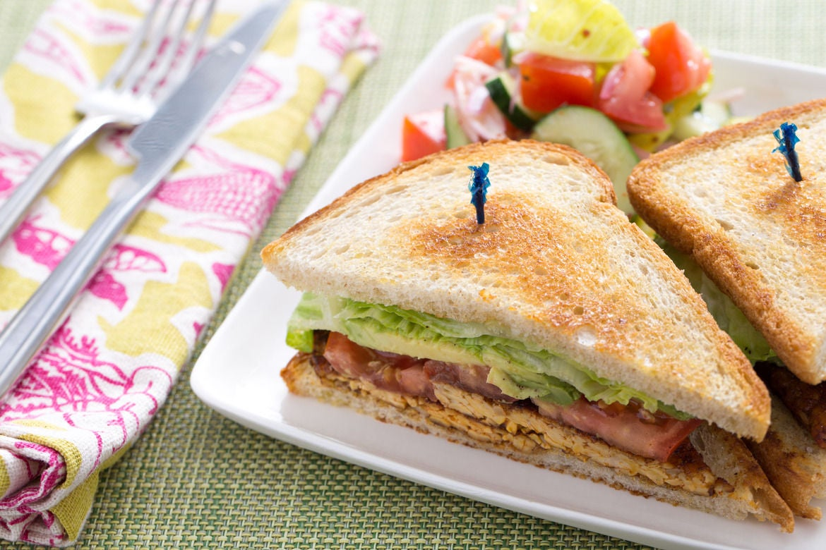 "Smoked Tempeh ""B.L.T."" Sandwiches with Tomato & Cucumber Salad"