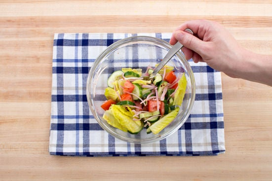 Make & dress the salad: