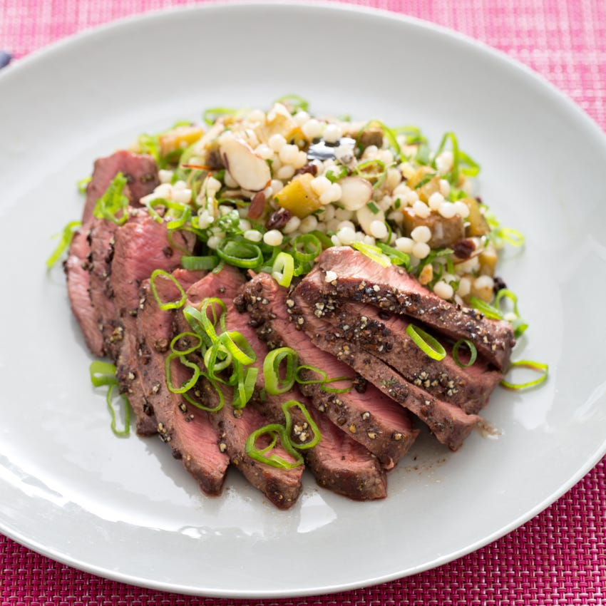 Grains of Paradise-Crusted Steak with Preserved Lemon, Eggplant & Israeli Couscous Salad