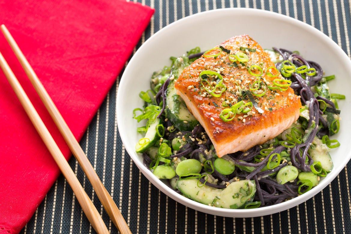 Furikake-Topped Salmon with Fresh Edamame & Miso-Sesame Black Noodles