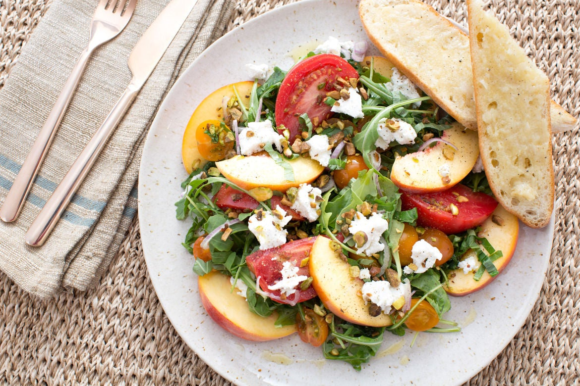 : Tomato, Peach & Goat Cheese Salad with Roasted Purple Garlic Bread ...