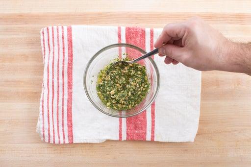 Toast the almonds & make the sauce: