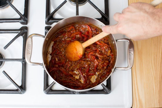 Finish the piperade: