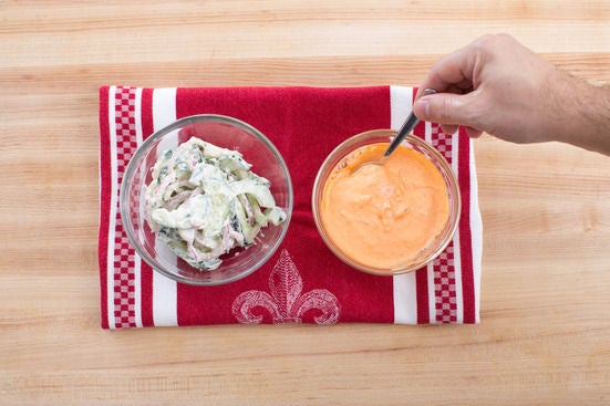 Make the salad & sauce: