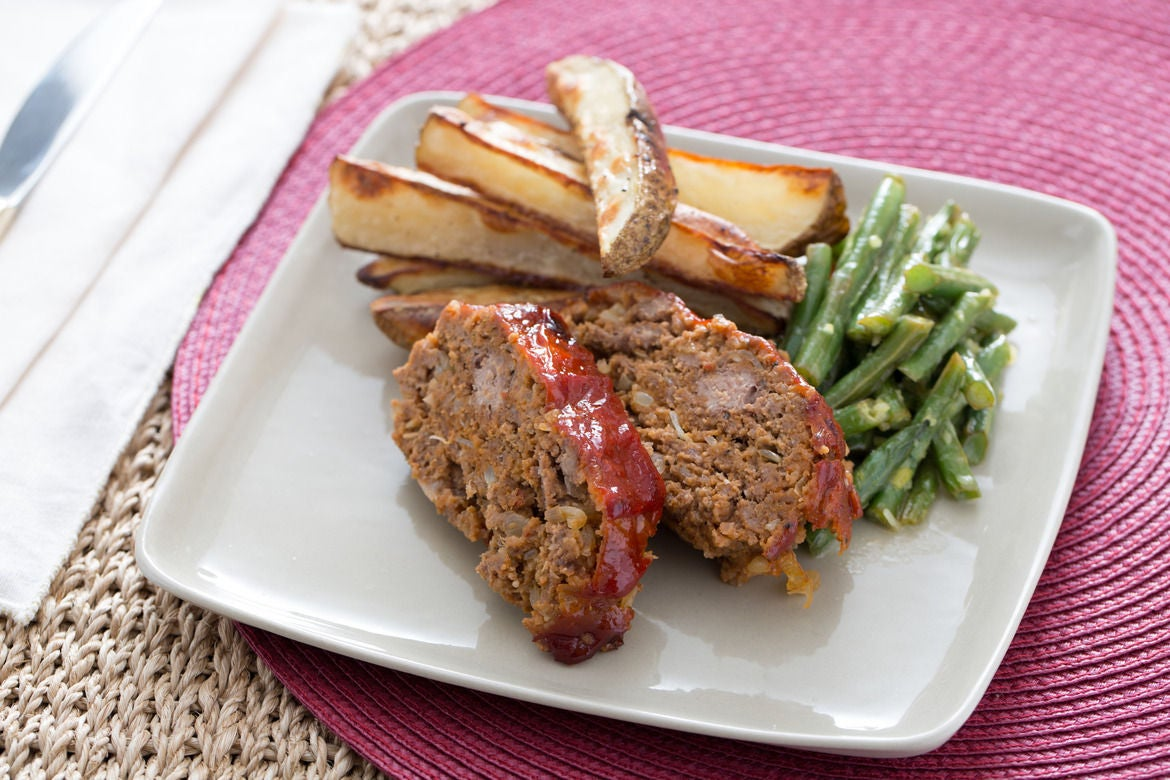 Beef Meatloaf & Roasted Potatoes with Lemon-Horseradish Green Beans