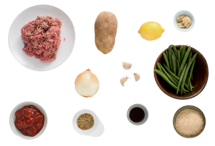 Beef Meatloaf & Roasted Potatoes with Lemon-Horseradish Green Beans ingredients