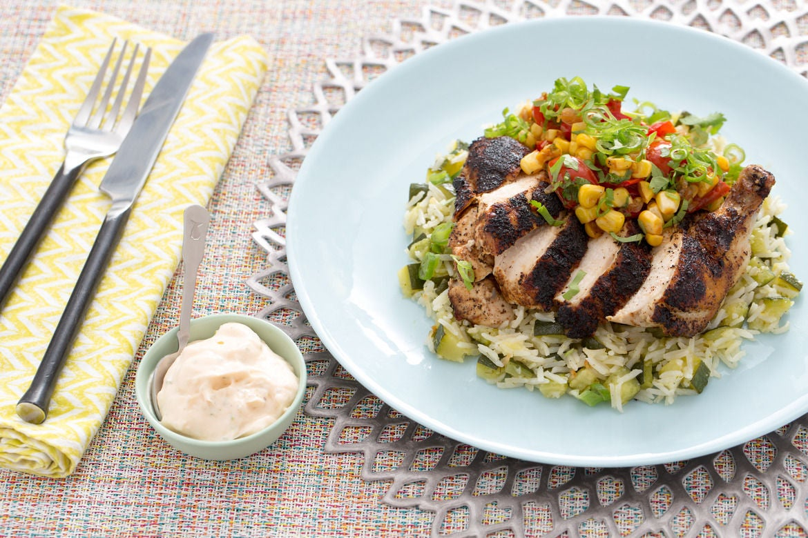 ... Chile-Dusted Chicken with Zucchini Rice Pilaf & Corn-Tomato Salsa